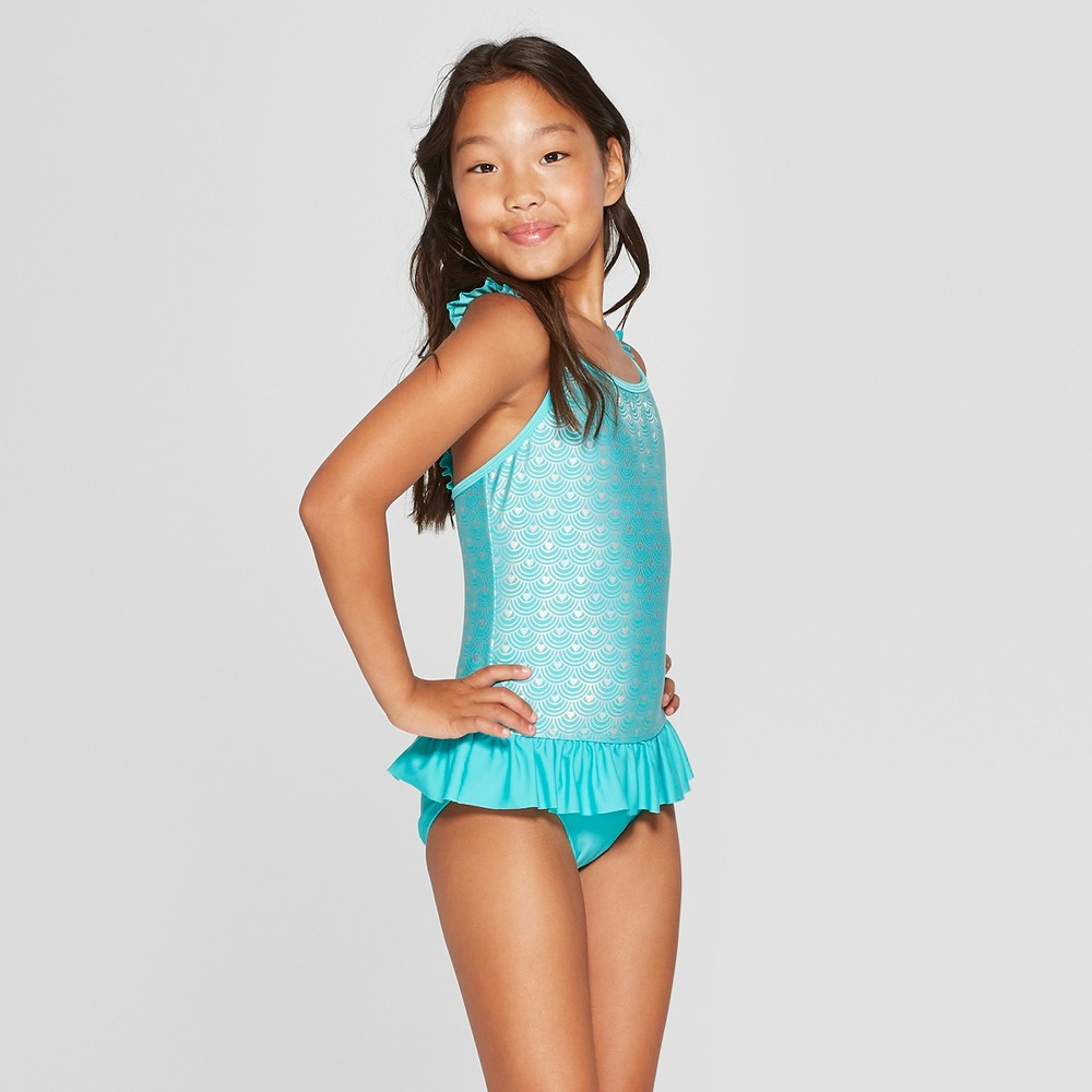 Girls' Shimmermaid One Piece Swimsuit - Cat & Jack Turquoise XL, Blue