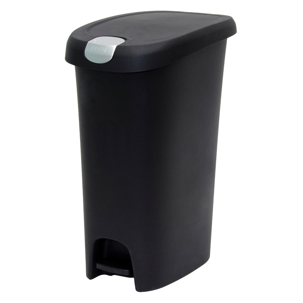 Hefty 12.3 Gallon Slim Step Black Trash Can with Locking Lid