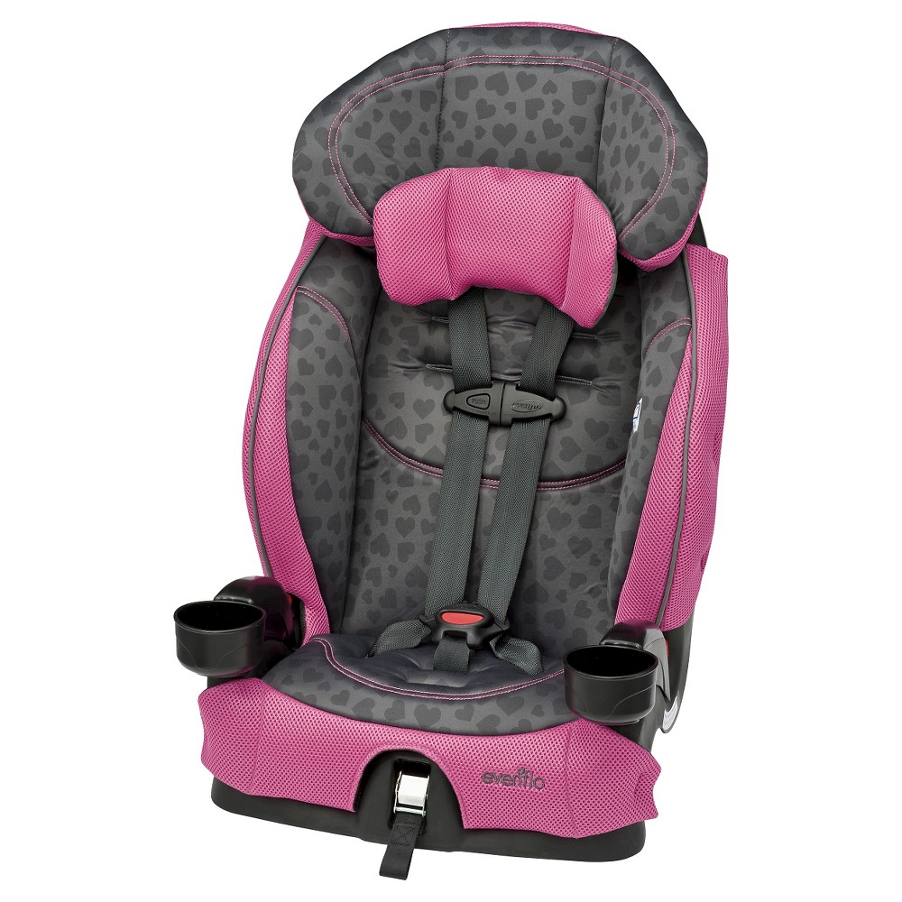 Evenflo Chase LX Booster Car Seat, Tonal Hearts