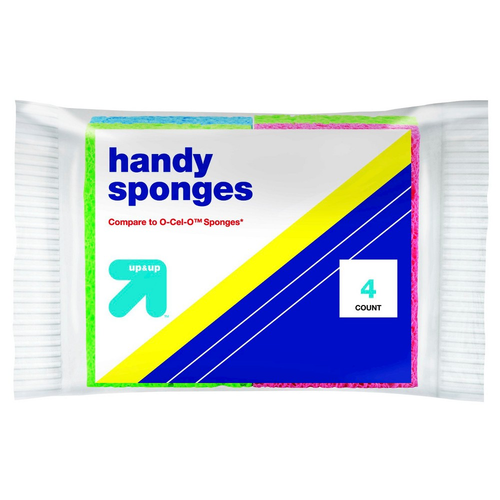 Handy Sponges 4pk - Up&Up (Compare to O-Cel-O Sponges), Multicolored