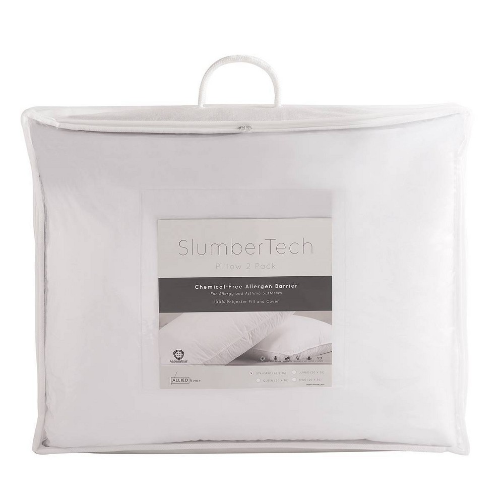 SlumberTech MicronOne Allergen Barrier Cover Standard Pillow 2pk, White