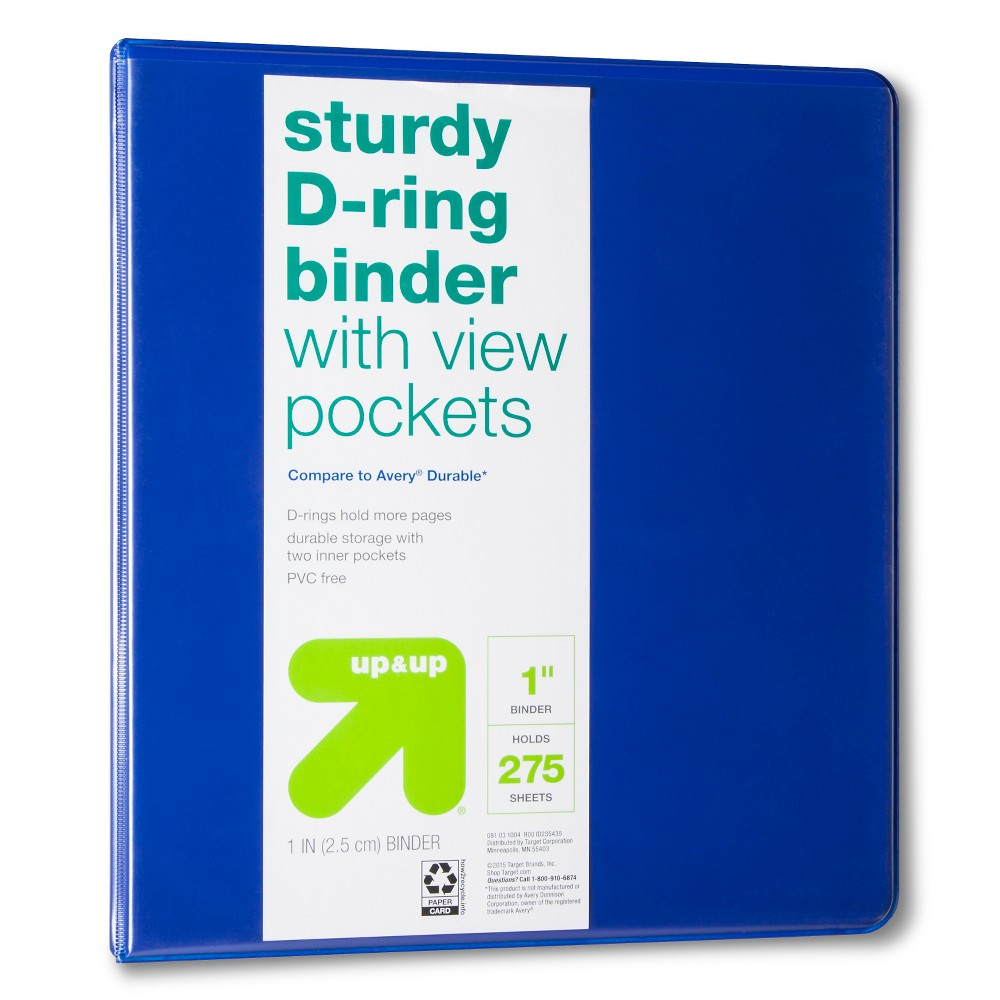 1 3 Ring Binder Clear View Blue (Compare to Avery Durable) up & up