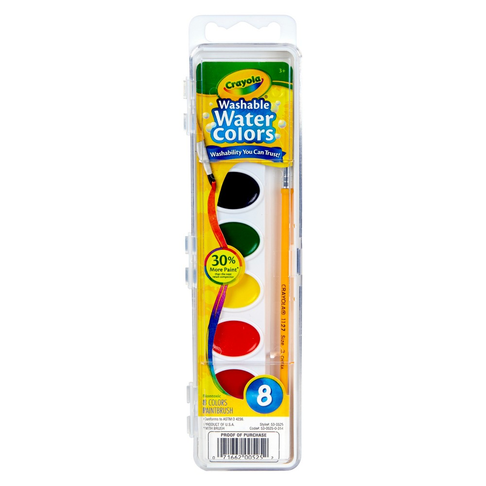 Crayola Watercolor Paints with Brush Washable 8ct