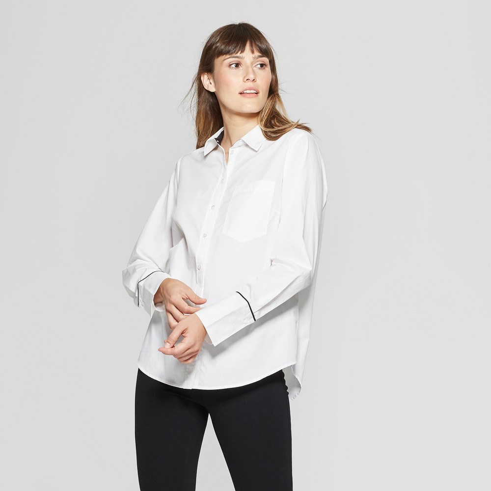 Women's Long Sleeve Button-Down Shirt - A New Day + Vital Voices - White M