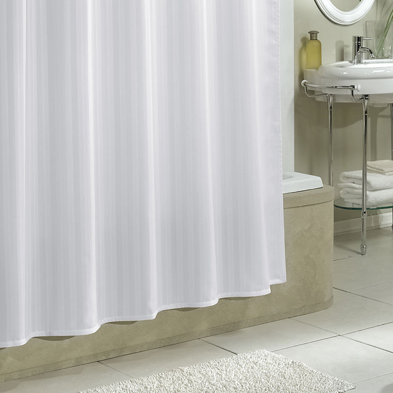 Damask Stripe Fabric Woven Shower Curtain Liner - White Color