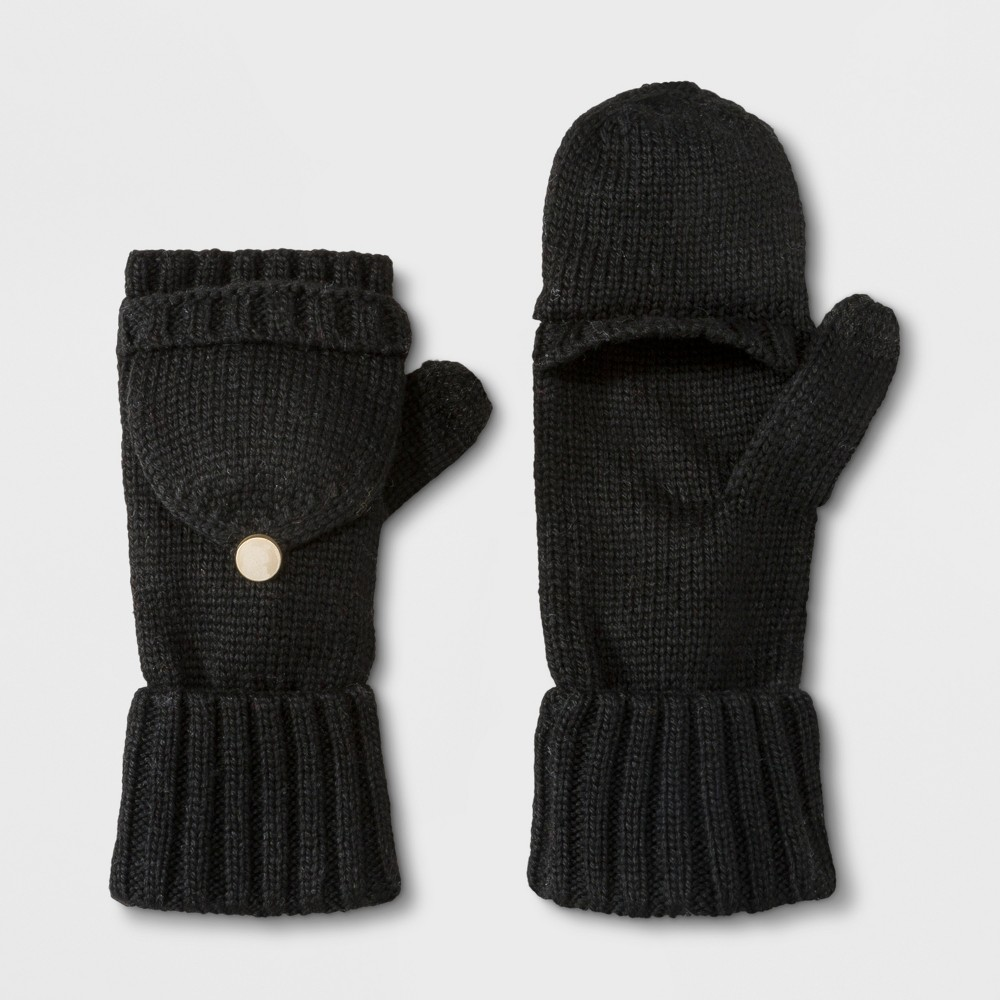 Women's Flip Top Gloves - A New Day Black