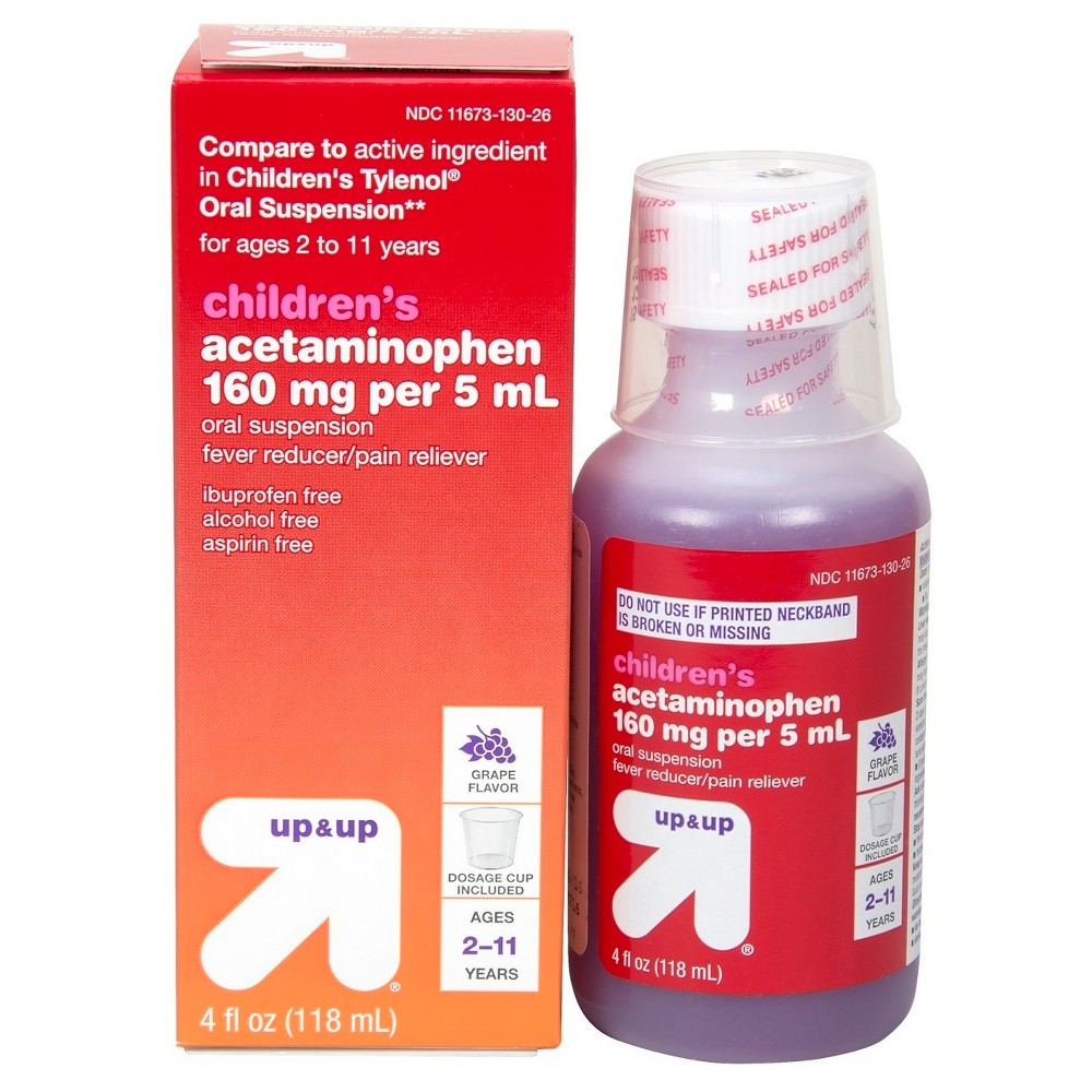Children's Acetaminophen Pain Reliever & Fever Reducer Liquid - (Compare to Children's Tylenol Oral Suspension) - Grape - 4oz - Up&Up