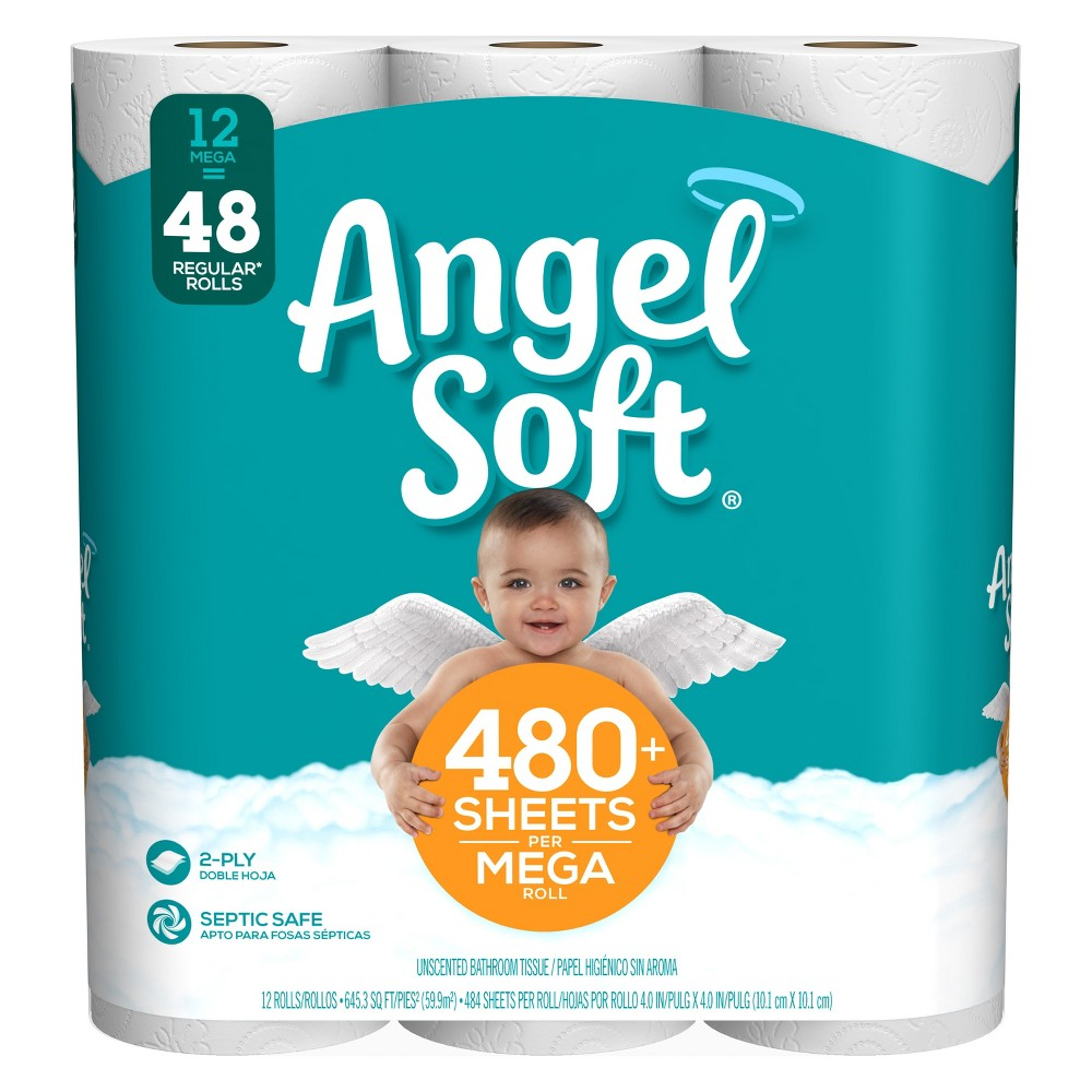 Angel Soft Toilet Paper - 12 Mega Rolls