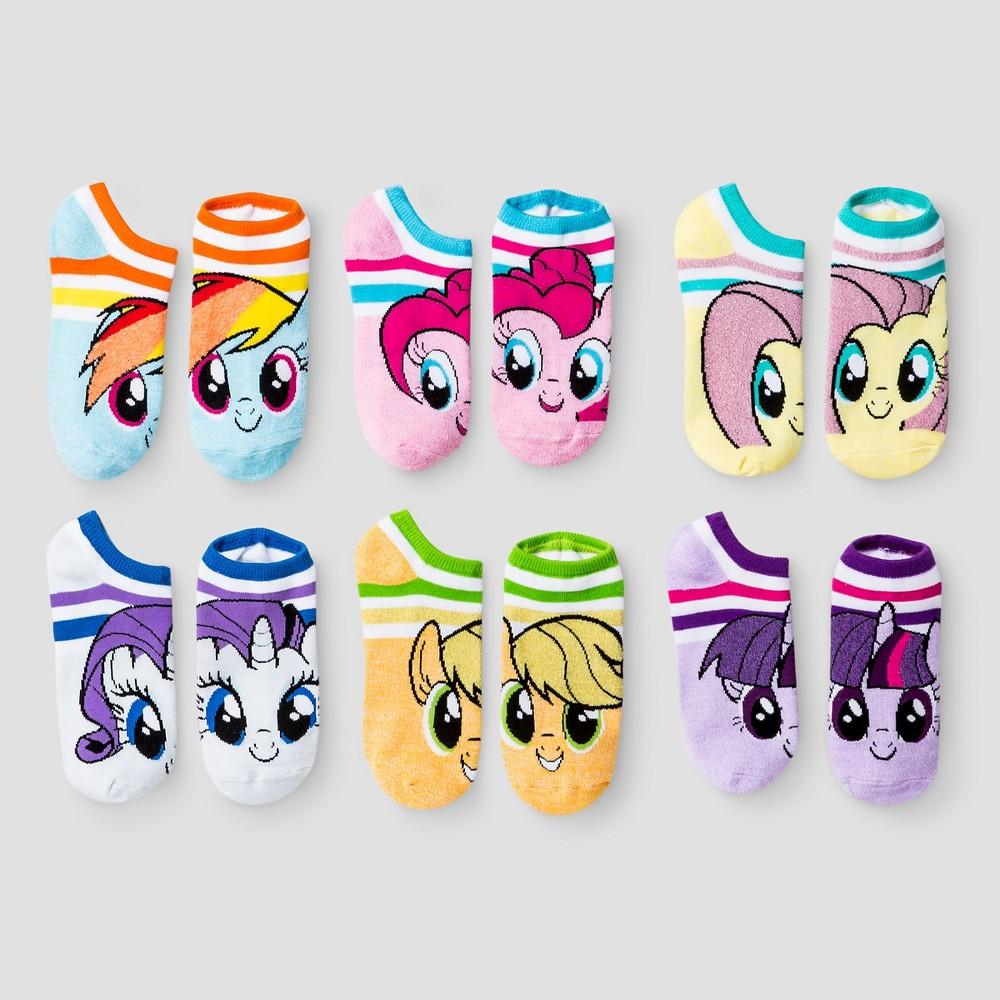Girls' My Little Pony 6pk No Show Socks - M/L, Multicolored