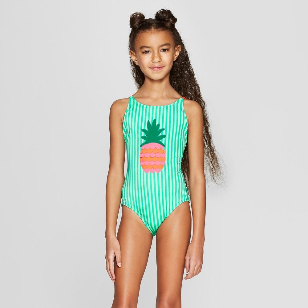 Girls' Summer Fun One Piece Swimsuit - Cat & Jack Green XS