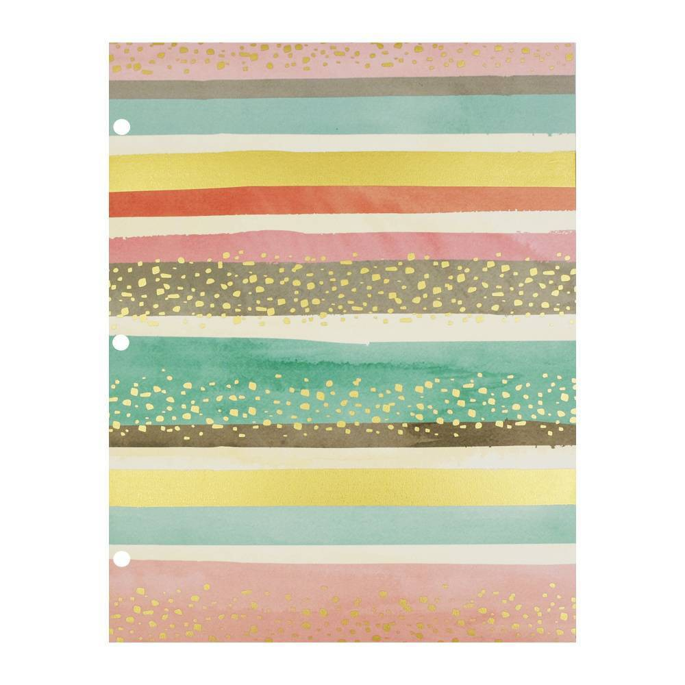 2 Pocket Paper Folder Pastel Stripes & Gold Dots - greenroom, Multi-Colored
