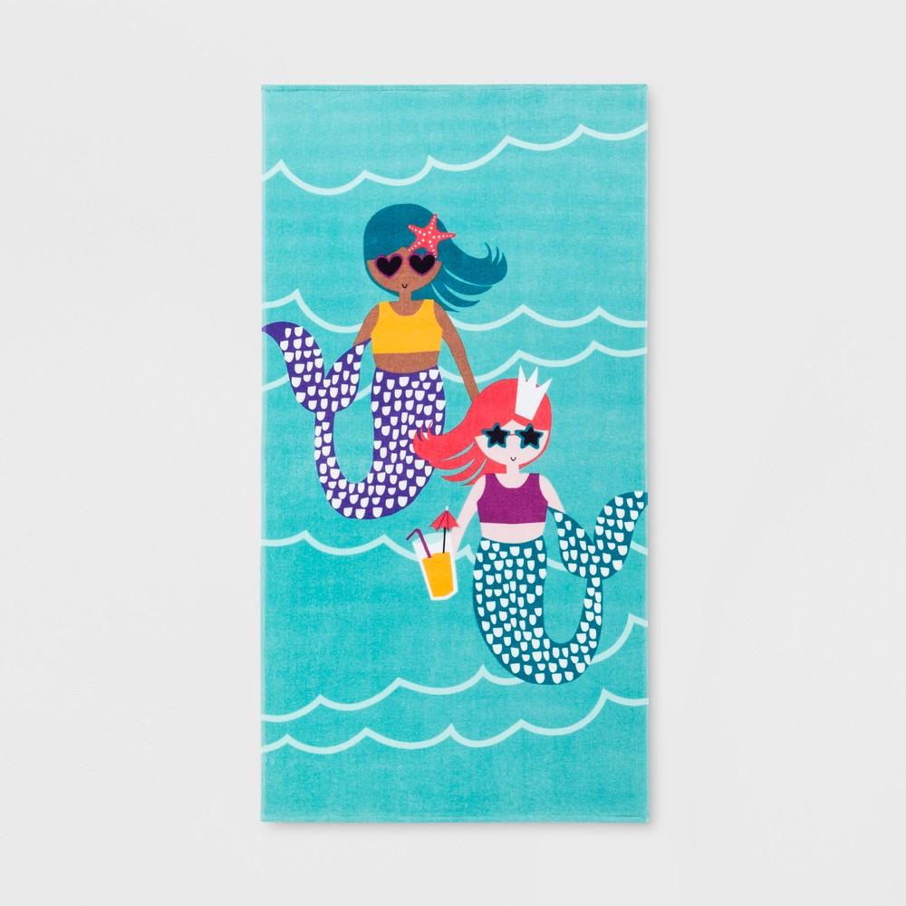Mermaid Friends Beach Towel Turquoise - Sun Squad