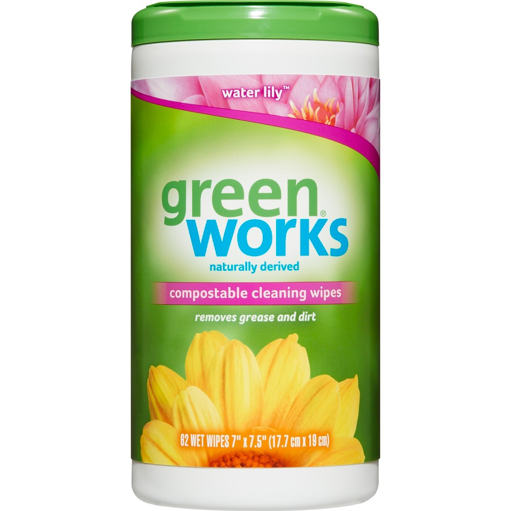 Green Works Compostable Cleaning Wipes Water Lily - 62ct