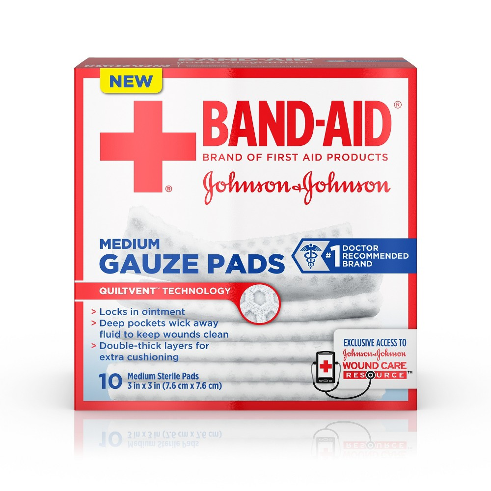 Johnson & Johnson 3'' Medium Gauze Pads - 10ct