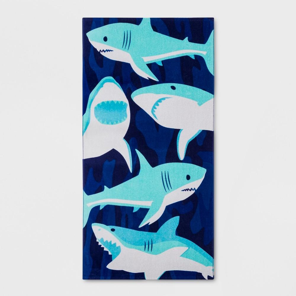 Sharks Beach Towel Blue - Sun Squad