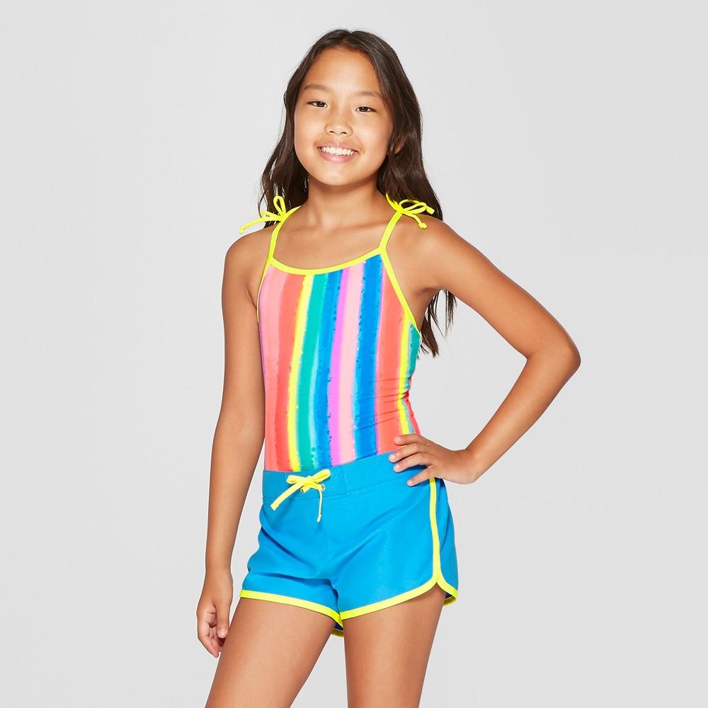 Girls' Splatter Stripe One Piece Swimsuit with Shorts Set - Cat & Jack Blue S, Yellow