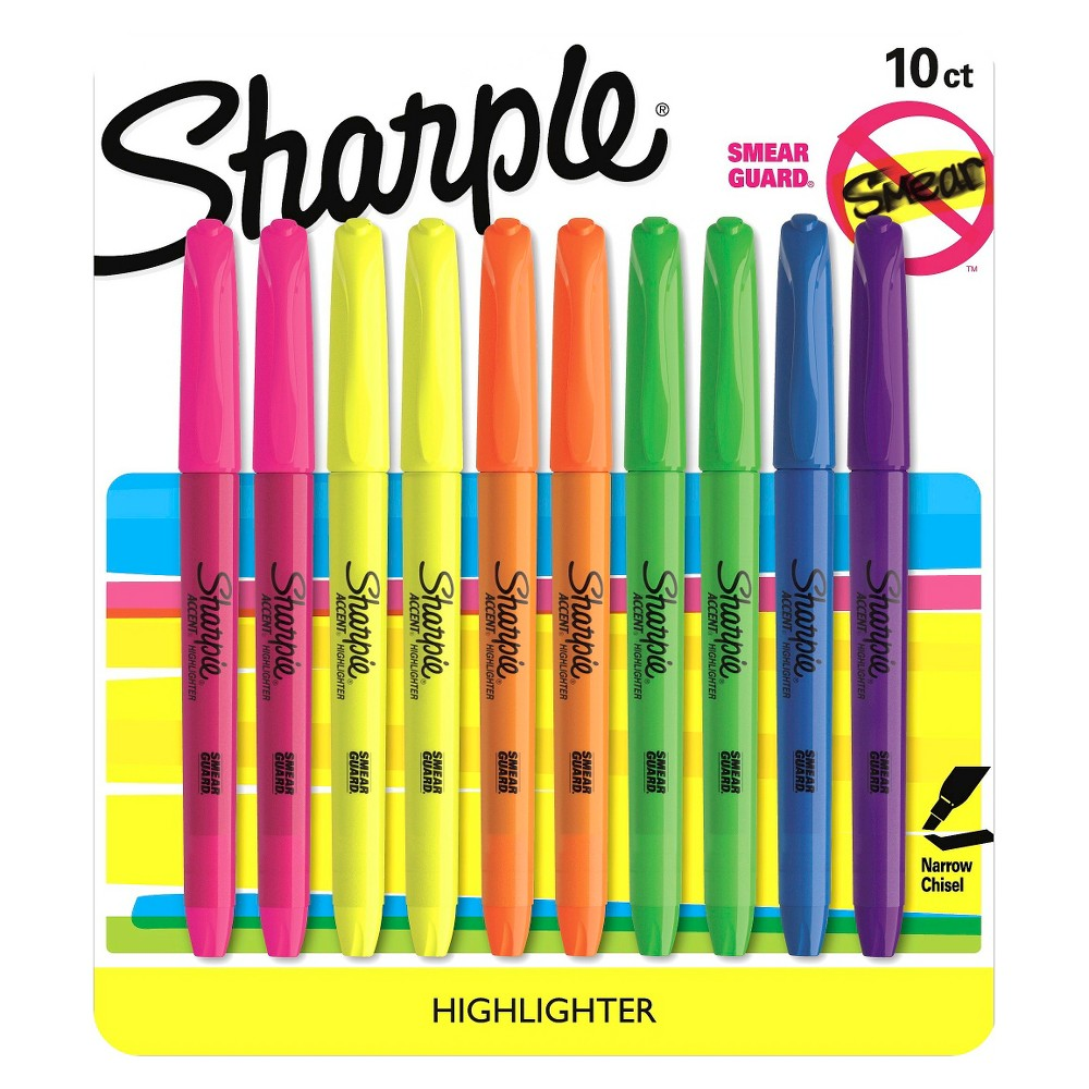 Sharpie Accent Highlighter, Bold Tip, 10ct - Multicolor, None