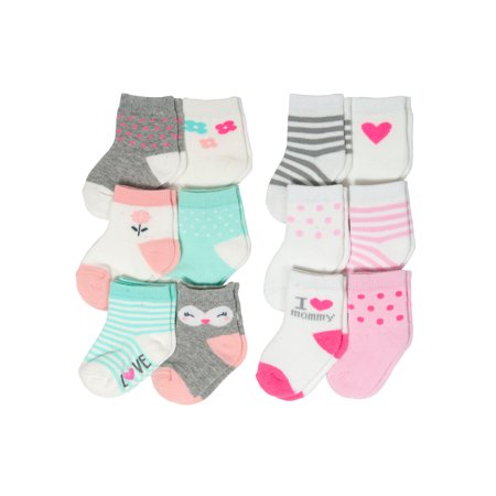 Fashion Crew Sock Set, I Love Mommy and Owl Characters, 12 Pack (Baby Girls)
