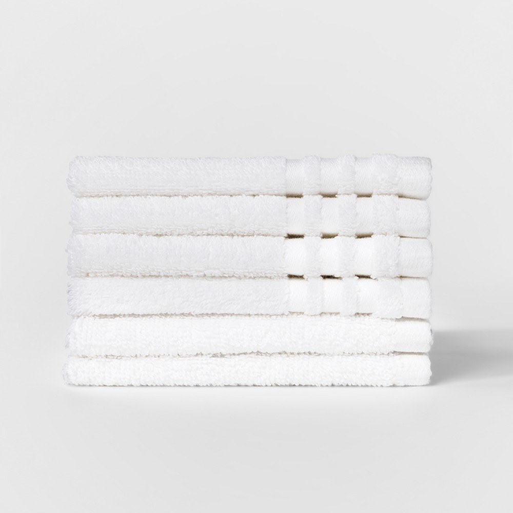 6pk Solid Washcloth Set White - Room Essentials