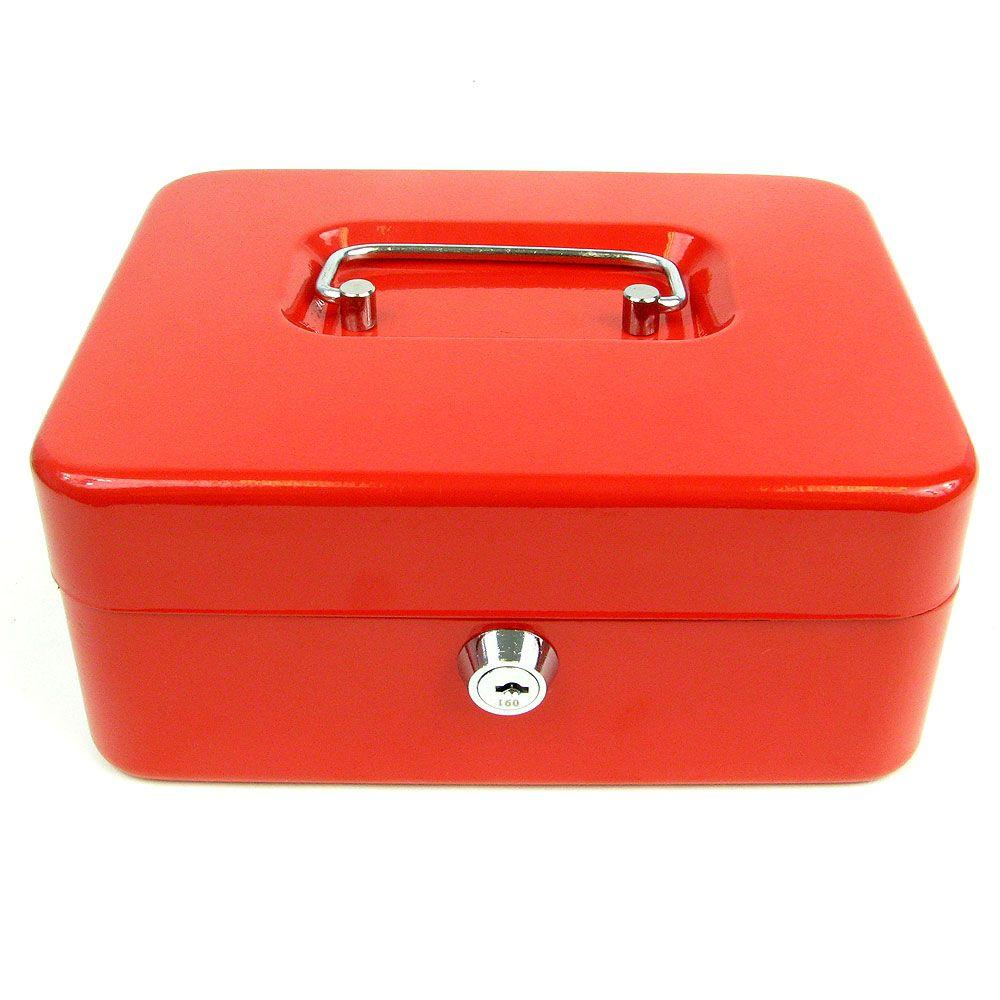 Stalwart 0.36 cu. ft. Key Lock Red Cash Box with Coin Tray, Red