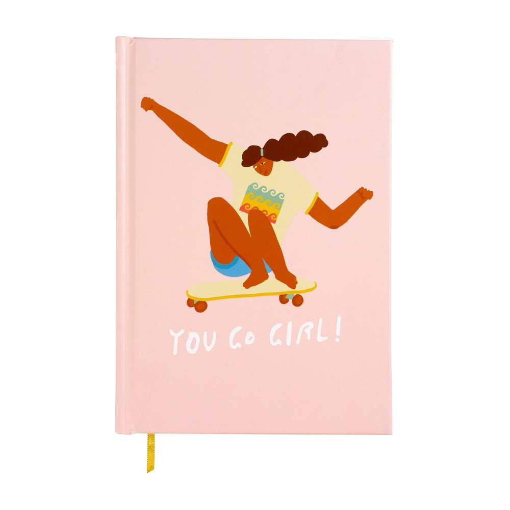 You Go Girl Lined Journal Pink Skateboard - X & O Paper Goods, Multi-Colored