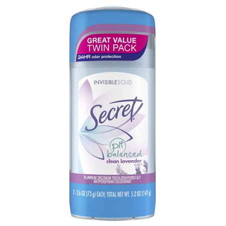 Secret Invisible Solid Antiperspirant and Deodorant, Clean Lavender Scent, Twin Pack, 2.6 oz