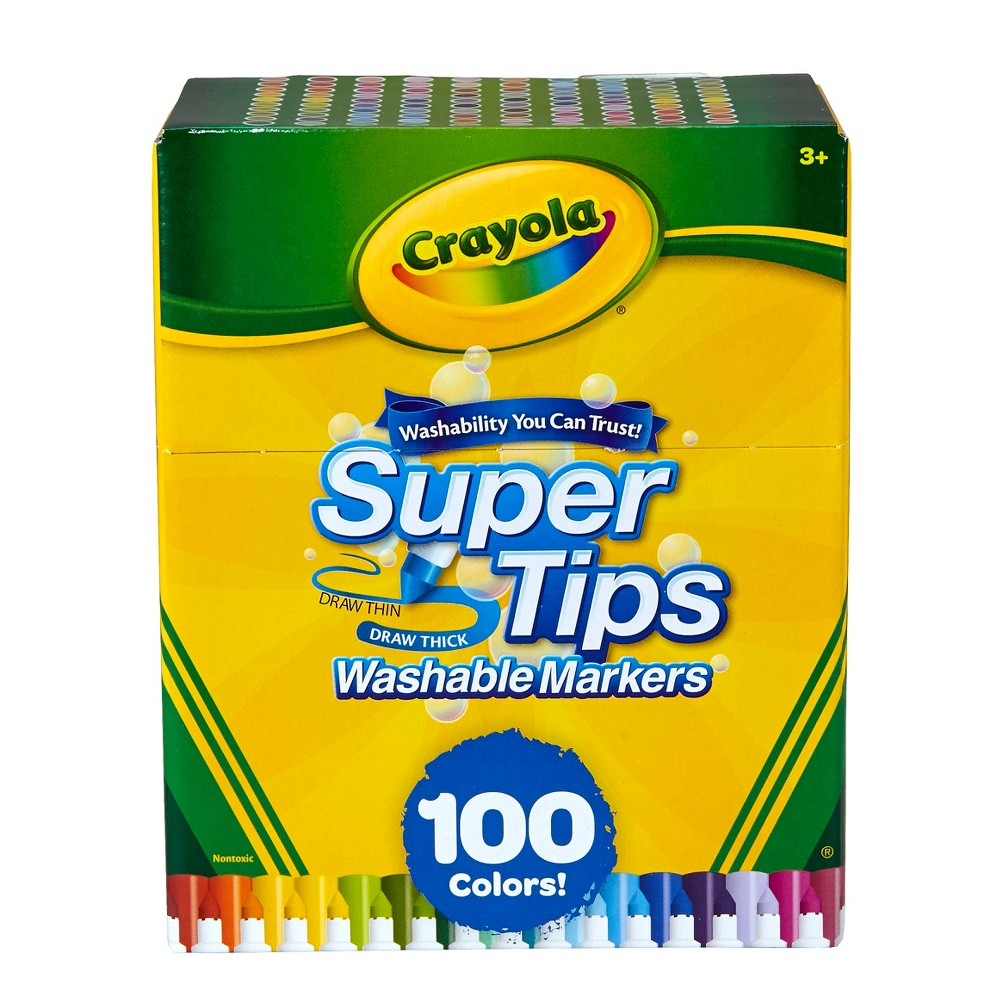 Crayola Super Tips Washable Markers 100ct, Multi-Colored