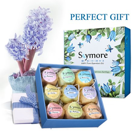Skymore Bath Bombs Gift Set, Slimerence, 9 x 2oz Fizzies Spa bubble bath bombs Kit, Organic Natural bath bombs with Giftbox