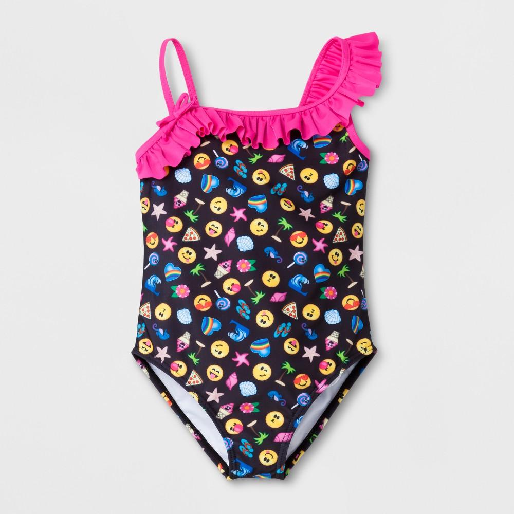 Girls' Emoji One Piece Swimsuit - Black 4