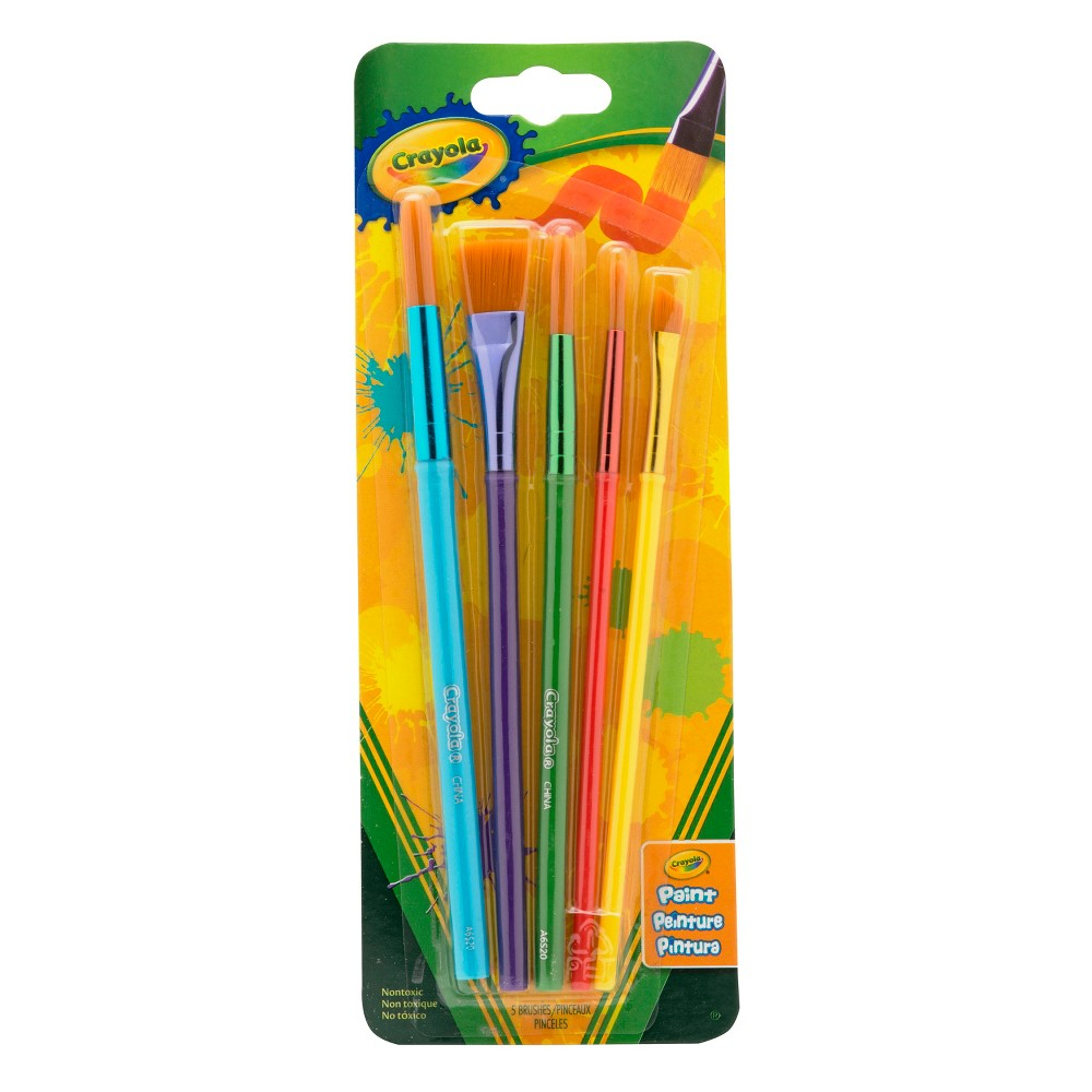 Crayola Paint Brushes Assorted Tips 5ct, Multi-Colored