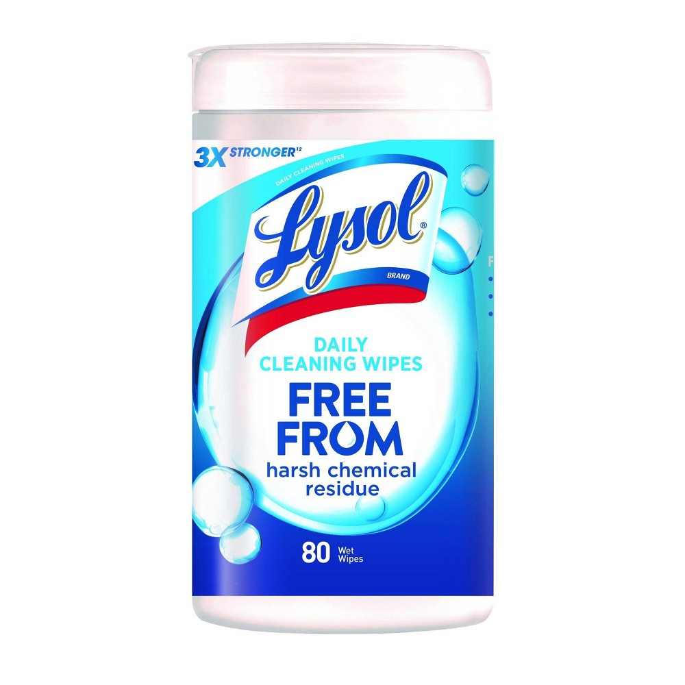 Lysol Daily Cleansing Wet Wipes Free From Harsh Chemical Residue - 80ct, White
