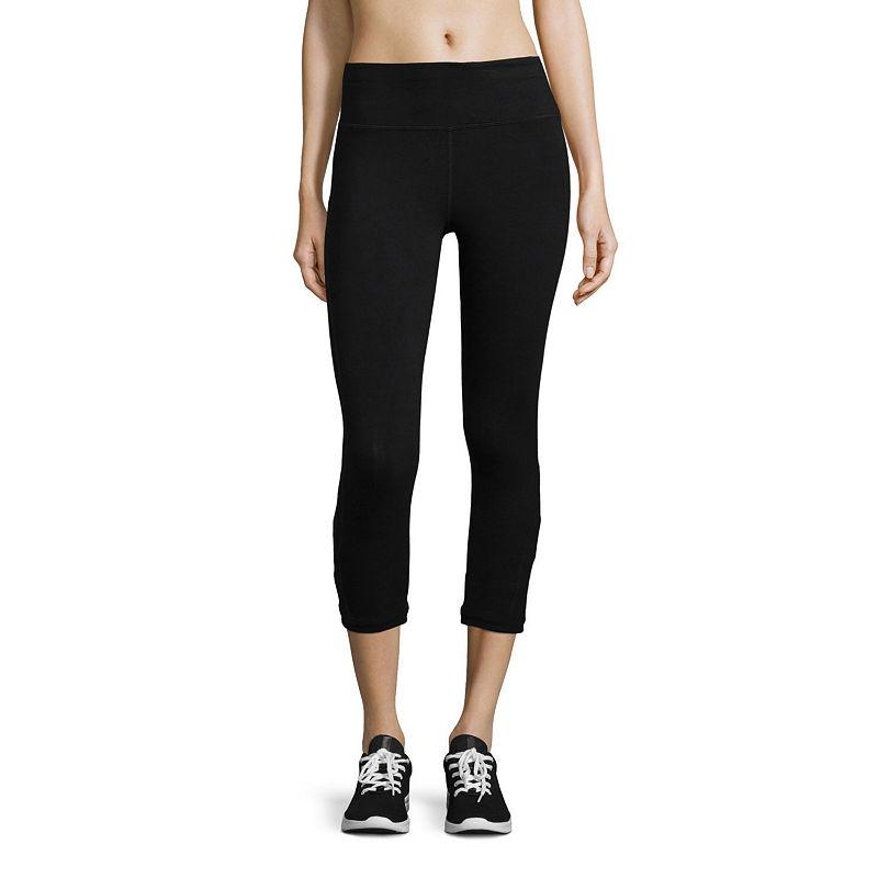 Xersion Slim Leg Modern Fit Studio Cutout Capris, Womens, Black, Size Medium