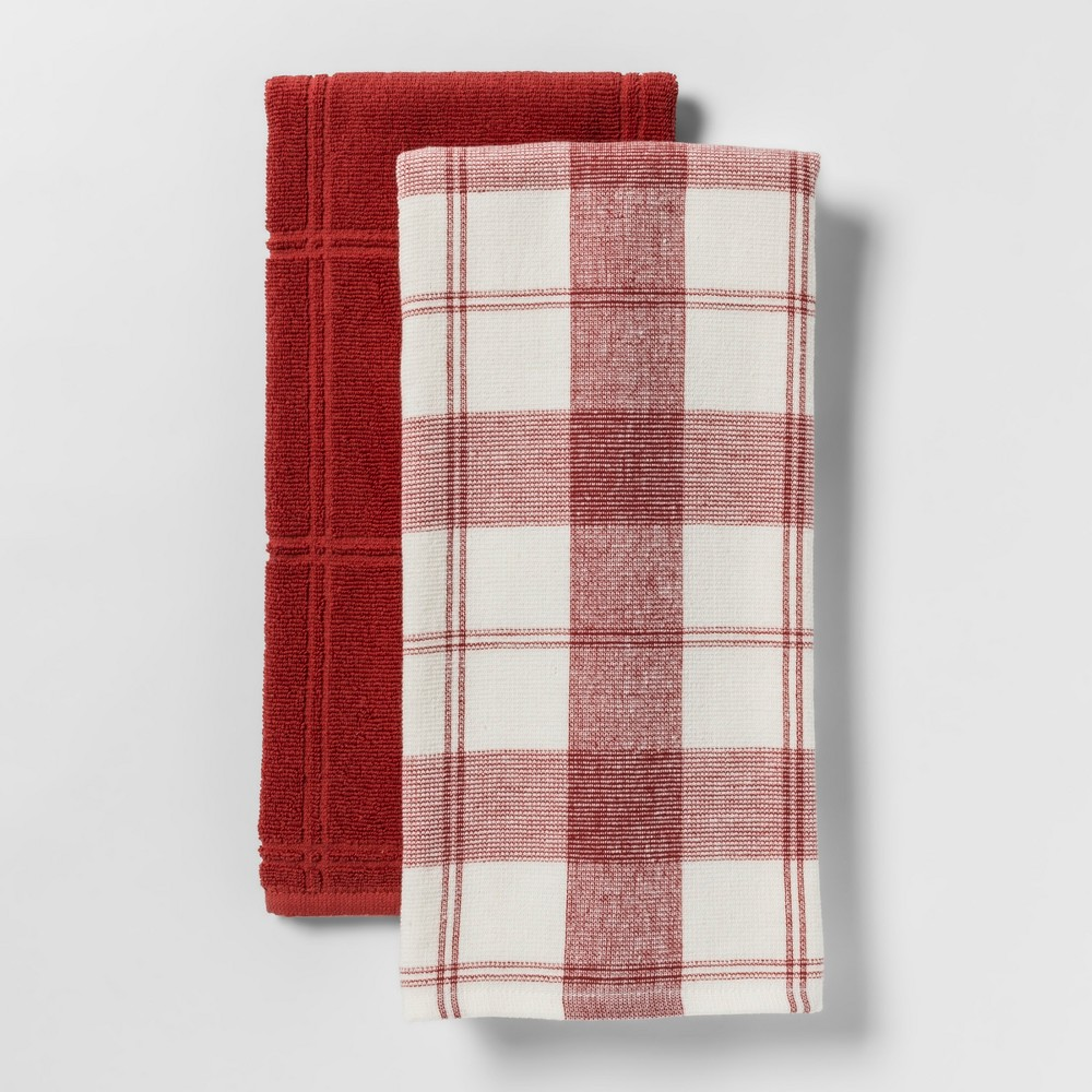 2pk Check With Solid Kitchen Towel Red - Threshold