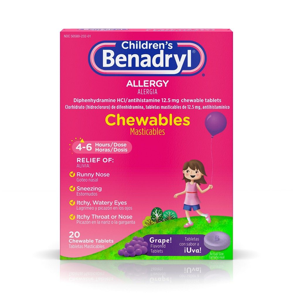 Children's Benadryl Allergy Relief Chewable Tablets - Diphenhydramine - Grape Flavor - 20ct