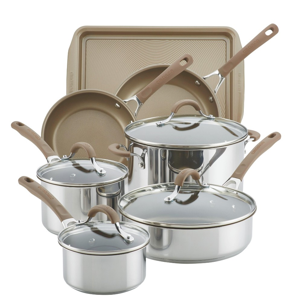 Circulon Innovatum 10pc Hard-Anodized Nonstick Cookware Set + Bonus Cookie Pan Champagne, Brown