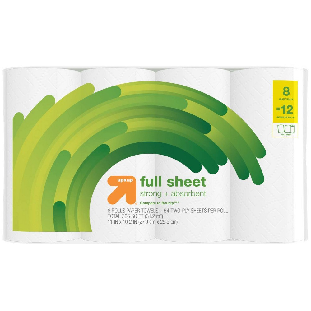 Full Sheet Paper Towels - 8 Giant Rolls- Up&Up (Compare to Bounty)