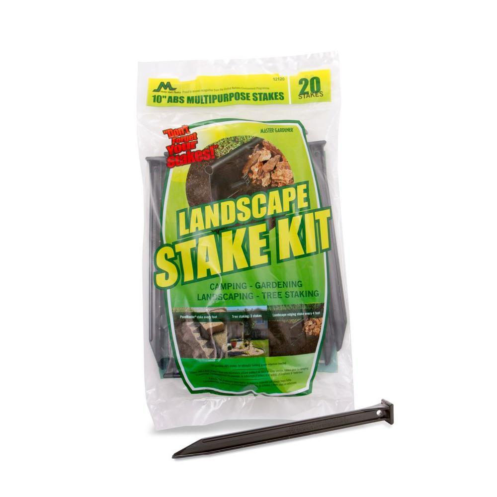 Master Mark 10 in. A.B.S. Plastic Anchor Stake Kit for Landscape Edging (20-Pack), Black