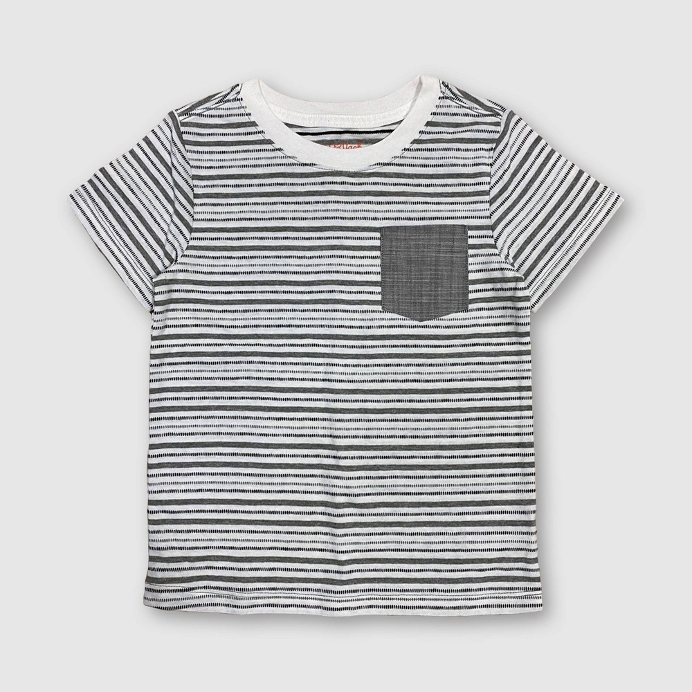 Toddler Boys' Striped T-Shirt - Cat & Jack Gray 4T