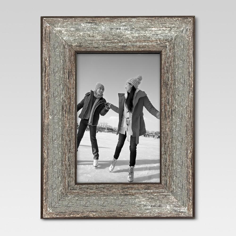 "4""x6"" Aged Wood Frame Silver - Threshold"