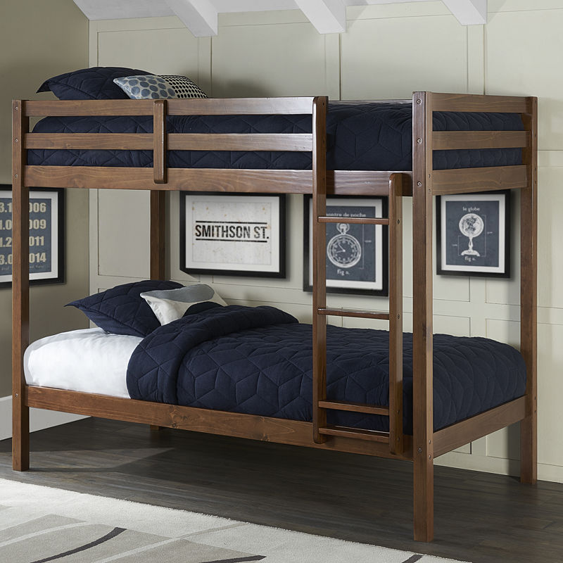 Hillsdale House Caspain Twin Over Twin Bunk Bed in a Box, Brown