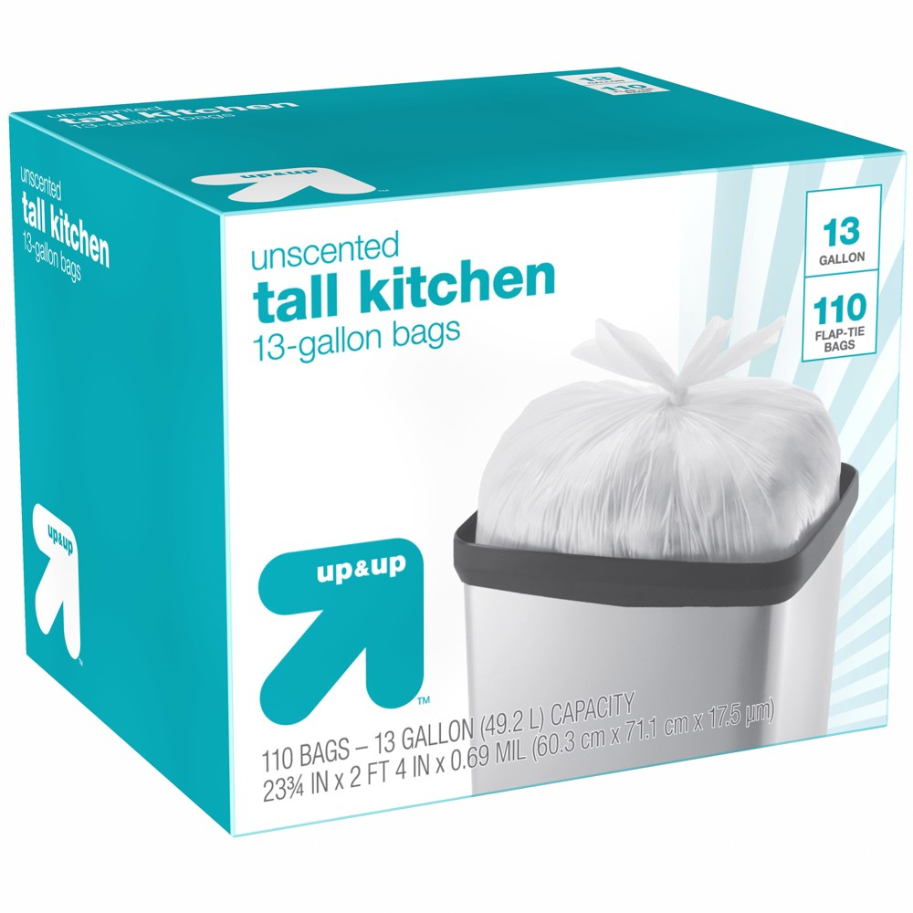 Tall Kitchen Flap-Tie Trash Bags - 13 Gallon - 110ct - Up&Up, White