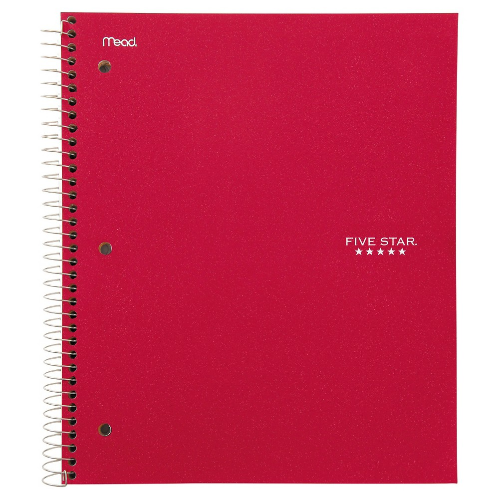 Five Star 3 Subject College Ruled Spiral Notebook - Red