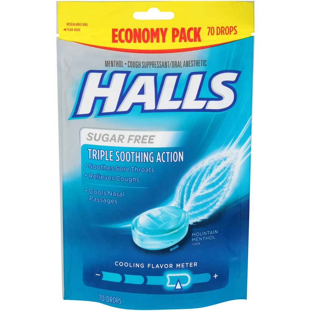 Halls Sugar Free Cough Drops - Mountain Menthol - 70ct