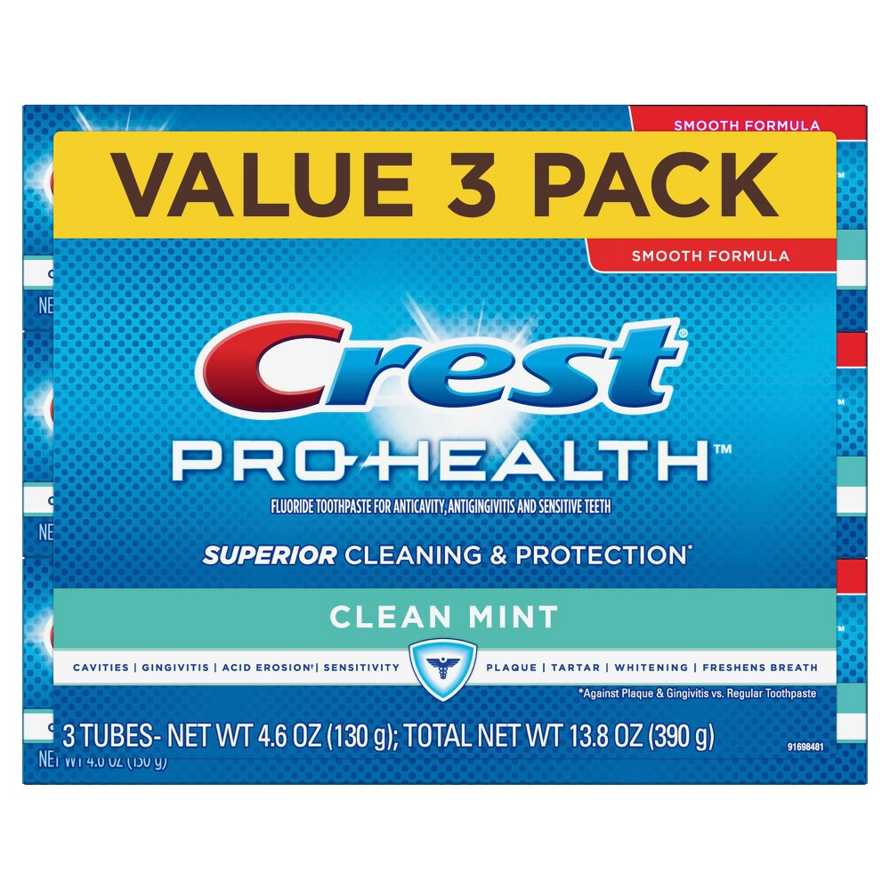 Crest Pro-Health Smooth Formula Clean Mint Toothpaste Triple Pack - 4.6 oz