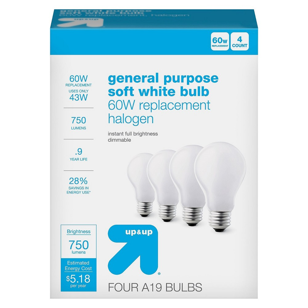 Light Bulb Halogen General Purpose Soft White 4PK 60W - Up&Up