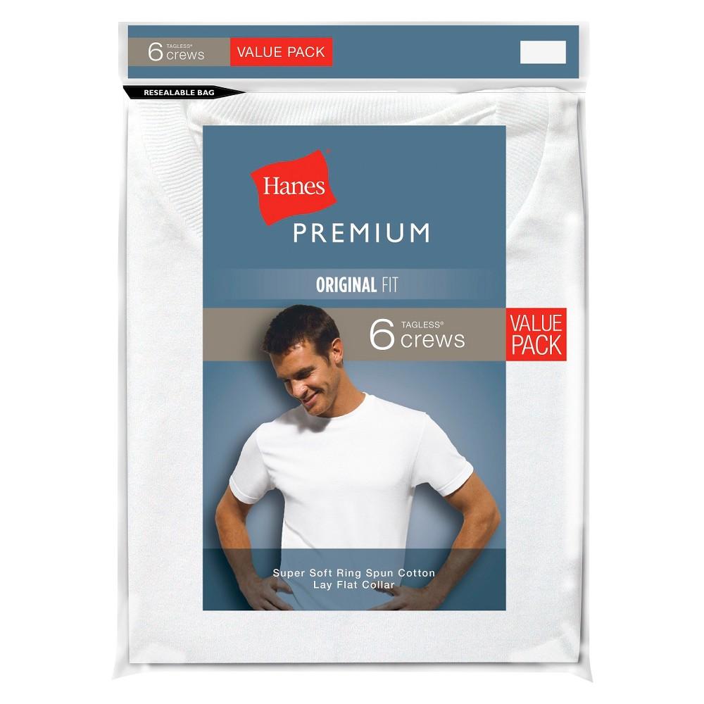 Hanes Premium Men's 6pk Crew Neck T-Shirt - White S