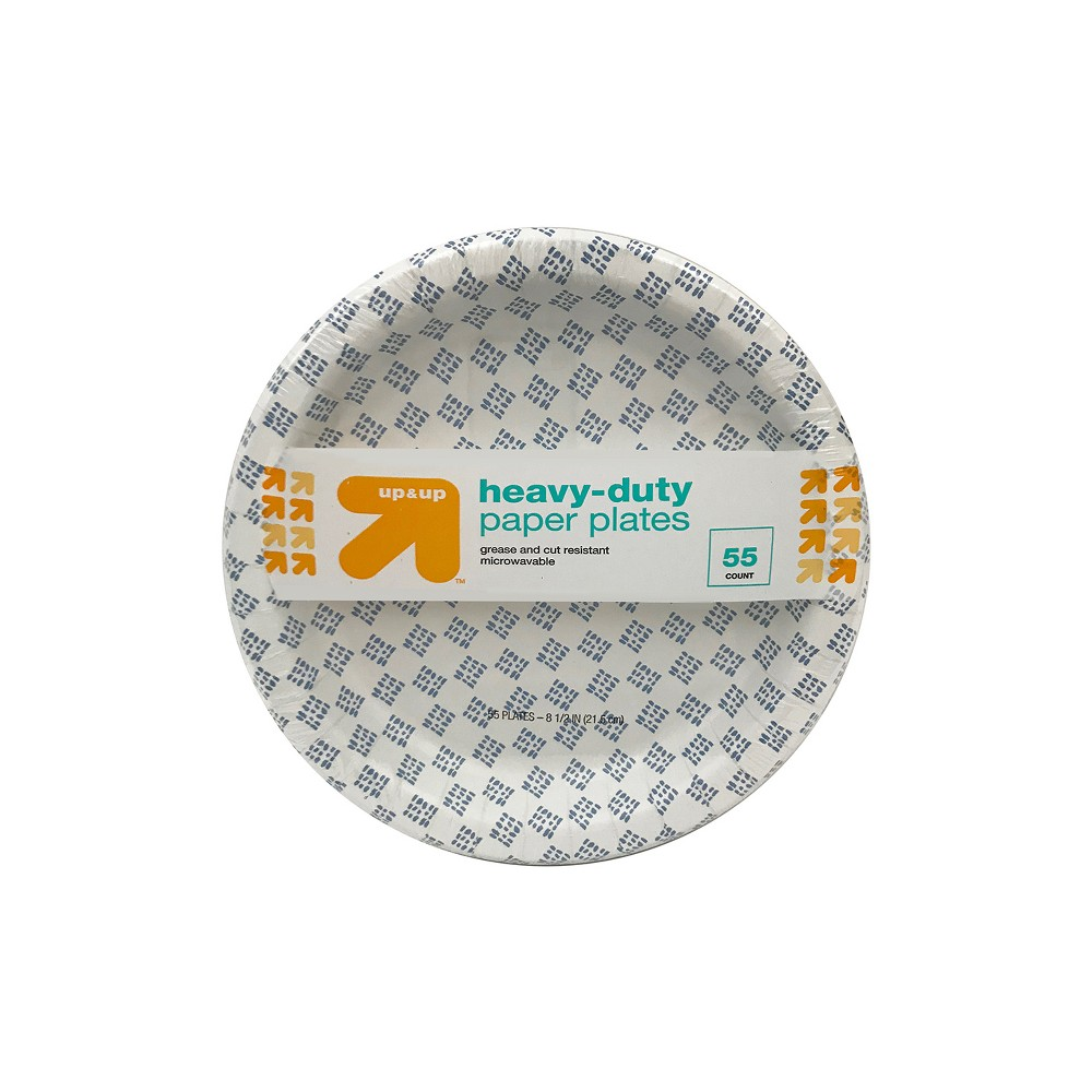 Heavy Duty Disposable Paper Plates - 8.5 - 55ct - Up&Up, Multi-Colored