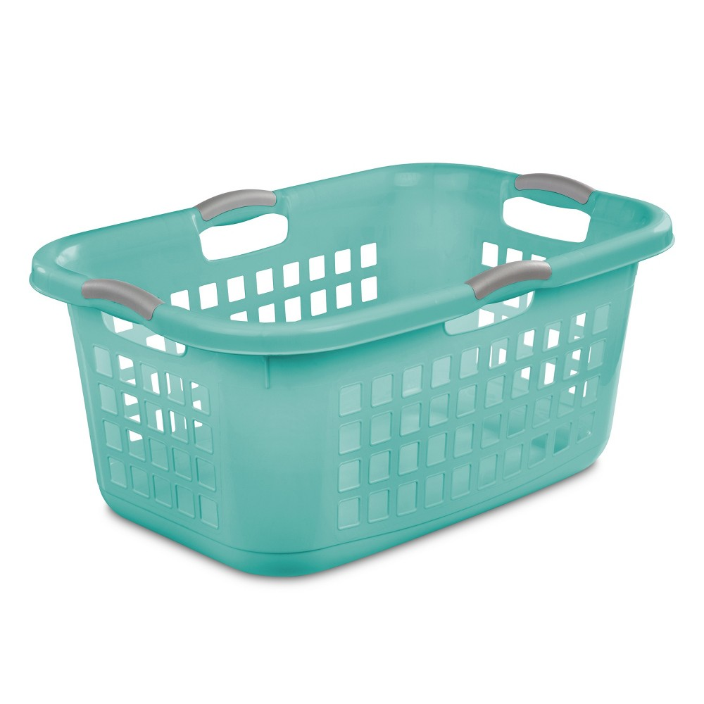 2 Bushel Laundry Basket - Aqua with Gray Handles - - Room Essentials, Aqua Chrome