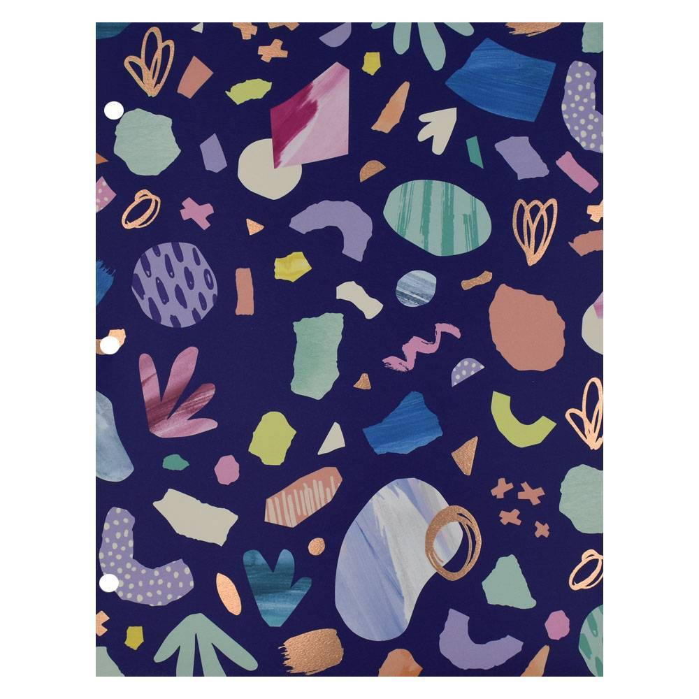 Terrazzo 2 Pocket Paper Folder Dark Blue - Greenroom, Multi-Colored