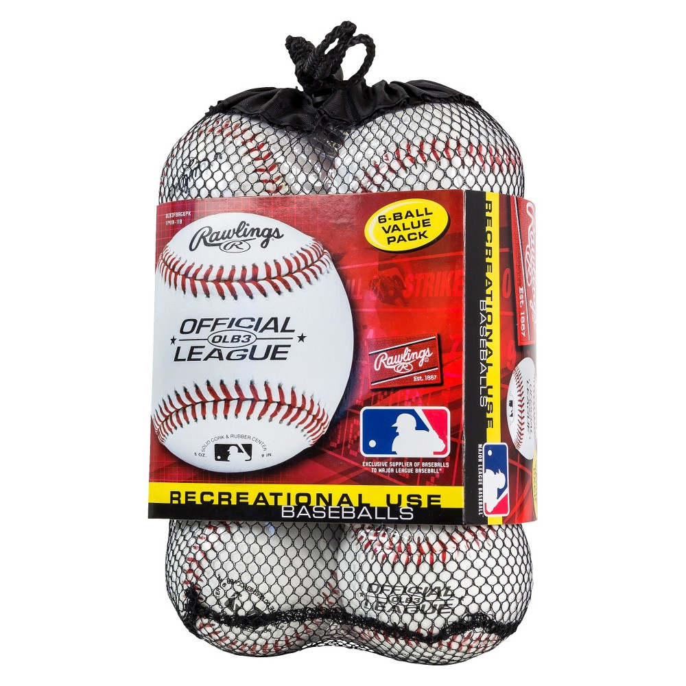 Rawlings Official Baseball 6pk, White
